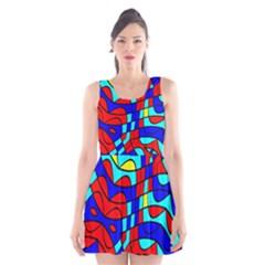 Colorful Bent Shapes Scoop Neck Skater Dress