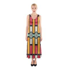 Rhombus and stripes pattern Full Print Maxi Dress