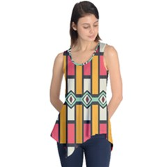 Rhombus and stripes pattern Sleeveless Tunic