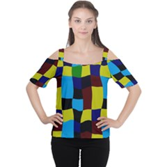 Distorted squares in retro colors Women s Cutout Shoulder Tee