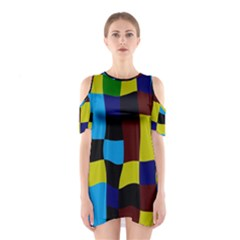 Distorted squares in retro colors Women s Cutout Shoulder Dress