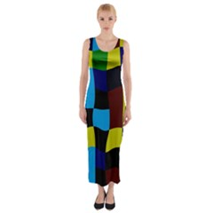 Distorted squares in retro colors Fitted Maxi Dress