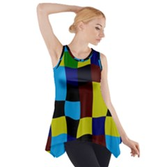 Distorted Squares In Retro Colors Side Drop Tank Tunic