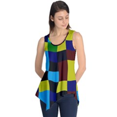 Distorted Squares In Retro Colors Sleeveless Tunic
