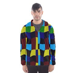 Distorted squares in retro colors Mesh Lined Wind Breaker (Men)