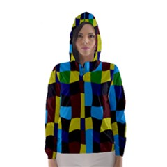Distorted Squares In Retro Colors Hooded Wind Breaker (women)