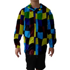 Distorted Squares In Retro Colors Hooded Wind Breaker (kids)