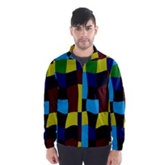 Distorted squares in retro colors Wind Breaker (Men)