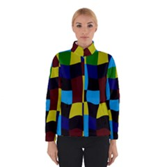 Distorted Squares In Retro Colors Winter Jacket