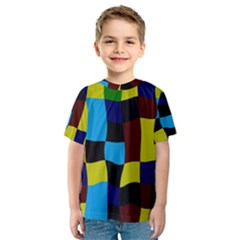 Distorted squares in retro colors Kid s Sport Mesh Tee