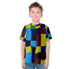 Distorted Squares In Retro Colors Kid s Cotton Tee