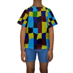 Distorted squares in retro colors  Kid s Short Sleeve Swimwear