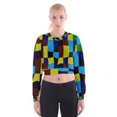 Distorted squares in retro colors   Women s Cropped Sweatshirt