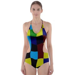 Distorted squares in retro colors Cut-Out One Piece Swimsuit
