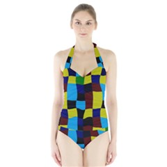 Distorted squares in retro colors Women s Halter One Piece Swimsuit