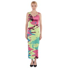 Chaos Texture Fitted Maxi Dress