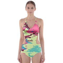 Chaos texture Cut-Out One Piece Swimsuit