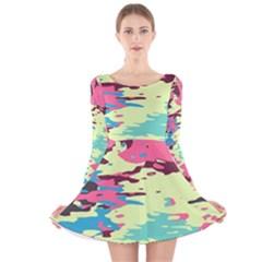 Chaos texture Long Sleeve Velvet Skater Dress