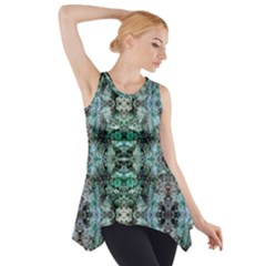 Green Black Gothic Pattern Side Drop Tank Tunic