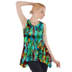 Turquoise Blue Green  Painting Pattern Side Drop Tank Tunic