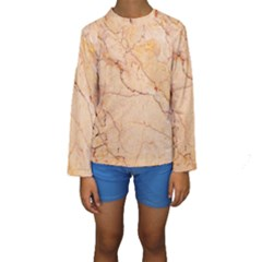 Stone Floor Marble Kid s Long Sleeve Swimwear