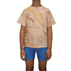 Stone Floor Marble Kid s Short Sleeve Swimwear
