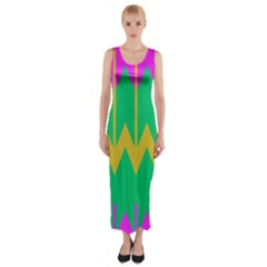 Chevrons Fitted Maxi Dress