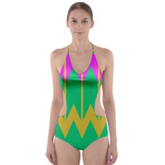 Chevrons Cut-Out One Piece Swimsuit