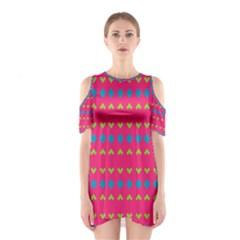 Hearts and rhombus pattern Women s Cutout Shoulder Dress