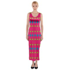 Hearts And Rhombus Pattern Fitted Maxi Dress