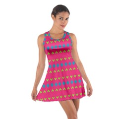 Hearts And Rhombus Pattern Cotton Racerback Dress