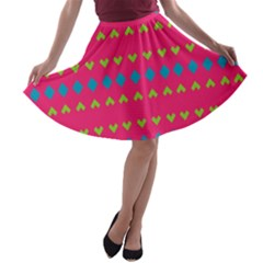 Hearts and rhombus pattern A-line Skater Skirt