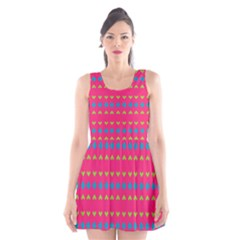 Hearts and rhombus pattern Scoop Neck Skater Dress