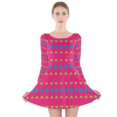 Hearts and rhombus pattern Long Sleeve Velvet Skater Dress