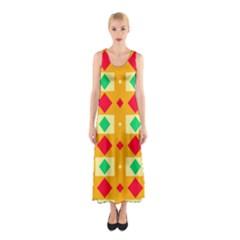 Green red yellow rhombus pattern Full Print Maxi Dress