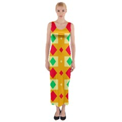 Green Red Yellow Rhombus Pattern Fitted Maxi Dress