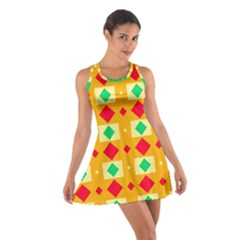 Green red yellow rhombus pattern Cotton Racerback Dress