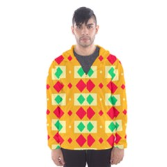 Green Red Yellow Rhombus Pattern Mesh Lined Wind Breaker (men)