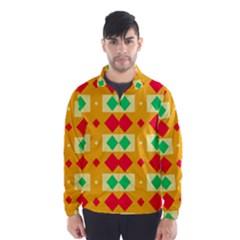 Green red yellow rhombus pattern Wind Breaker (Men)