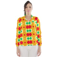 Green Red Yellow Rhombus Pattern Wind Breaker (women)