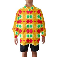 Green Red Yellow Rhombus Pattern Wind Breaker (kids)