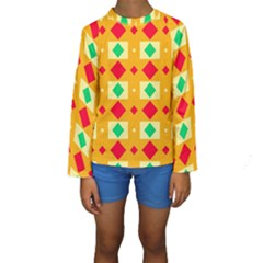 Green red yellow rhombus pattern  Kid s Long Sleeve Swimwear