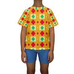 Green red yellow rhombus pattern  Kid s Short Sleeve Swimwear
