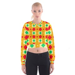 Green Red Yellow Rhombus Pattern   Women s Cropped Sweatshirt