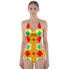 Green red yellow rhombus pattern Cut-Out One Piece Swimsuit