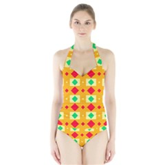 Green red yellow rhombus pattern Women s Halter One Piece Swimsuit