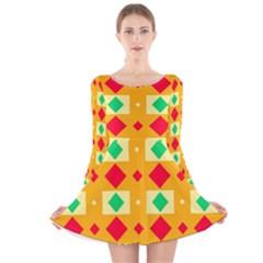 Green red yellow rhombus pattern Long Sleeve Velvet Skater Dress