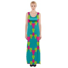 Triangles honeycombs and other shapes pattern Maxi Thigh Split Dress