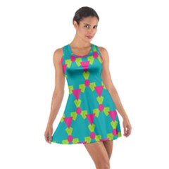 Triangles Honeycombs And Other Shapes Pattern Cotton Racerback Dress