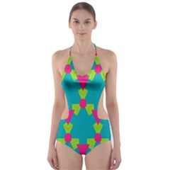 Triangles honeycombs and other shapes pattern Cut-Out One Piece Swimsuit
